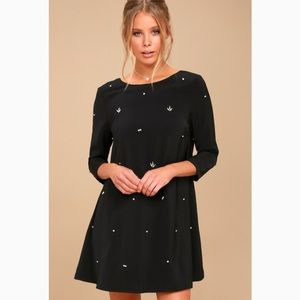 NWT So Precious Black Rhinestone Swing Dress